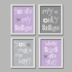 Purple Lavender Grey Gray Bird  You Are My by SunshinePrinting, $38.00