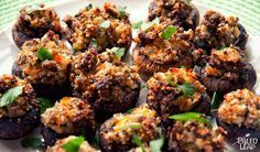 Sausage-Stuffed Mushrooms-- would be a good meal with large portabella mushroom caps.
