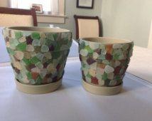 Flower Pots Beach Sea Glass Ceramic Pots Mosaic Functional for holding plants