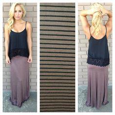 Brown & Black Stripe Roll Down Maxi Skirt