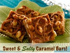Sweet and Salty Caramel Bars Recipe! via TheFrugalGirls.com #dessert #recipes