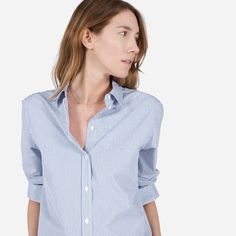 The relaxed poplin shirt—crisp, clean, and in a subtly slouched style. It features a point collar and looks great styled more relaxed with the first few buttons undone. The fabric is a crisp, lightweight poplin.