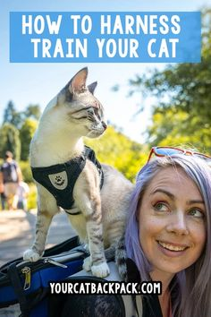 Great tips for getting started with training your cat or kitten to wear a harness and walk on a leash -- really wonderful resource for adventure cat and travel cat training! Cat Leash, Cat Harness, Cat Care Tips, Dog Care, Pet Tips, Adventure Cat, Cat Backpack, Easiest Dogs To Train, Kitten Care