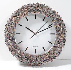 clock wall art, made from recycled magazines. $150.00, via Etsy.