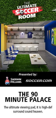 "Enter Sherwin Williams ""The Ultimate Soccer Room Sweepstakes"" for a chance to win $1000 from SOCCER.COM, a $500 Sherwin-Williams gift card, and a $500 VISA gift card to make your ultimate soccer room a reality!"
