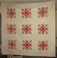 Beautiful - Antique 1800's Red Tan Oak Leaf Hand Applique Quilt Never Used or Washed   eBay