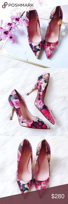 """Kate Spade 'Licorice Too' floral pump Rose print leather pumps by Kate Spade. Features a pointed toe and 4"""" heel. Well constructed, feminine, and stylish. Never worn. Gorgeous heels for a special event or just to have in your spring wardrobe.    Model photo : crazystylelove.com {to show fit} kate spade Shoes Heels"""