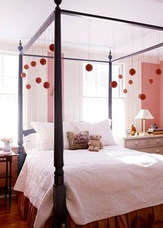 My dream little girl room with fun accents, grown up linens and the beautiful four poster bed. Just enough pink for a little girl without being fru fru! Beach Inspired Bedroom, Bedroom Themes, Kids Bedroom Designs, Canopy Bed, Kids Bedroom Design, Bed, Bedroom Decor, Canopy Bedroom, Kids Canopy