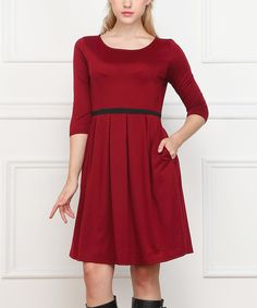 Love this Wine Pleated Fit & Flare Dress by Reborn Collection on #zulily! #zulilyfinds