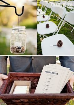 reserve chairs with pinecones
