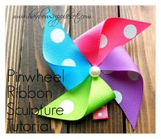 Pinwheel Ribbon Sculpture Tutorial - Hairbow Supplies, Etc. Pinwheel Ribbon Sculpture Tutorial - This is such an adorable and versatile hair bow instructional video. You could use this to match any them or holiday! - Hairbow Supplies, Etc. Ribbon Hair Bows, Diy Hair Bows, Diy Bow, Bow Hair Clips, Ribbon Flower, Fabric Flowers, Ribbon Colors, Hair Bow Tutorial, Flower Tutorial