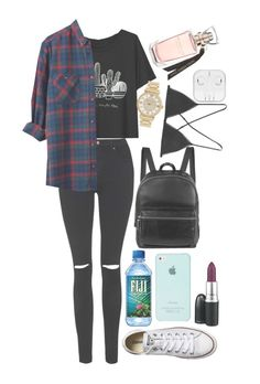 """untitled #129"" by rosita562 ❤ liked on Polyvore featuring Topshop, Converse, Elizabeth and James, Michael Kors, Kiki de Montparnasse and MAC Cosmetics"