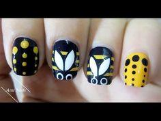 Cute & Easy Bumblebee Nail Art - YouTube