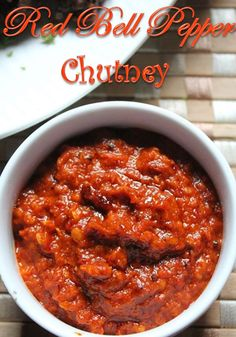 bell pepper recipes I had a dream on my mind, when i was going through my old post, i came across my green capsicum chutney. Suddenly i wanted to try out red capsicum chutney and ye Red Pepper Chutney Recipe, Easy Chutney Recipe, Indian Chutney Recipes, Relish Recipes, Indian Food Recipes, Vegetarian Recipes, Cooking Recipes, Healthy Recipes, Gourmet