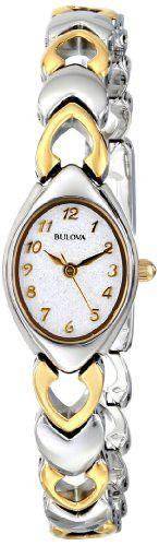Bulova Women's 98V02 White Patterned Bracelet Watch -