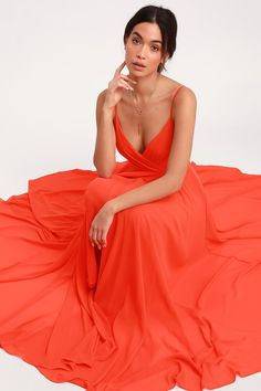 All great love stories start with the All About Love Coral Red Maxi Dress! Woven fabric shapes a pleated, surplice bodice, fitted waist, and faux maxi skirt. Bridesmaid Dresses Under 100, Coral Maxi Dresses, Red Maxi, Casual Bridesmaid, Orange Bridesmaid Dresses, Bridesmaids, Orange Cocktail Dresses, Orange Dress, Elegant Prom Dresses
