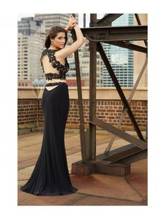 Madison James 15-114 Black Lace Two Piece Crop Top Dress Prom 2016