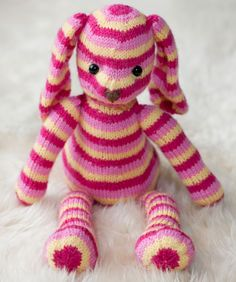 Here's the sweetest little animal to ever hop into a child's arms! Knit this striped bunny in three bright colors and create a comforting friend that can go wherever a child goes.