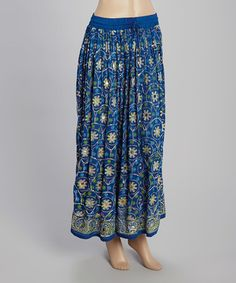 Another great find on #zulily! Blue Floral Coin Embellished Maxi Skirt #zulilyfinds