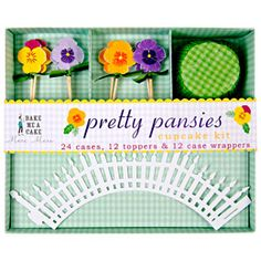 The Container Store  Pretty Pansies Cupcake Kit