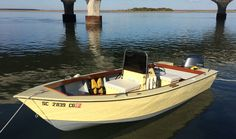 A home built center console Shoestring Skiff