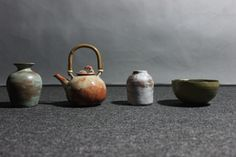 """Pottery made in summer summer glazed stoneware + bamboo Size: Varies Pottery Making, Sugar Bowl, Bowl Set, Stoneware, Glaze, Bamboo, Summer, How To Make, Home Decor"