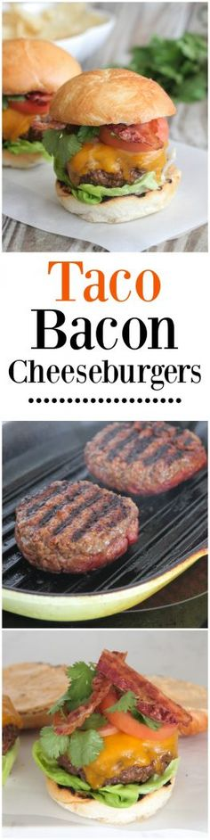 Taco Bacon Cheeseburgers - Picky Palate @oldelpaso #spon