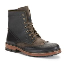 Kenneth Cole Forever Mine Leather And Suede Wingtip Boot In Black / Grey Color