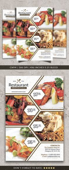 Create amazing flyers for your restaurant or cafe by customizing easy to use templates. Ready-made restaurant flyer templates and create awesome designs Flyer Restaurant, Restaurant Menu Template, Restaurant Design, Restaurant Advertising, Advertising Flyers, Menue Design, Food Design, Web Design, Brochure Food