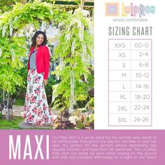 LuLaRoe Maxi skirt sizing guide https://www.facebook.com/groups/LuLaRoeWithHeidiSolomon/