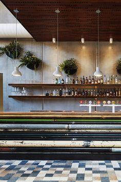 Lighting. Floors. Ceiling. Concrete Bar.