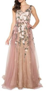 Mac Duggal Floral Embroidery Floor-Length Gown #dressyoutfits#afflink