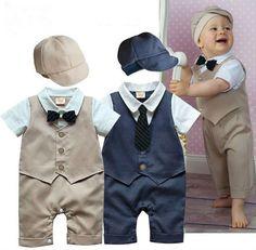 Baby Boys Rompers 2 Pieces Clothing Set Khaki Blue Hat + Vest Waistcoat Romper Gentleman Infant Jumpsuits Wedding Tuxedo Suit
