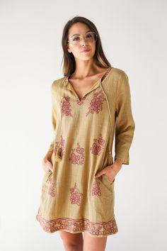 Mimi Mustard Boho Dress