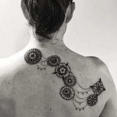 Cats- 2Spirit Tattoo connected dotwork mandala-inspired tattoo on back