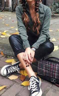 #fall #outfits Army Shirt // Cropped Leather Pants // Converse