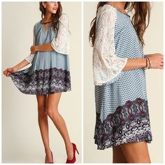 Lace Sleeve Boho Tunic Dress Shirtdress Mixed print bell sleeve tunic dress with keyhole details . Love the mixture if the fabrics Nwt please use Poshmark feature to purchase size or add to bundle Striped eyelet embellished. Pleated detail crochet Shirt dress Vivacouture Dresses