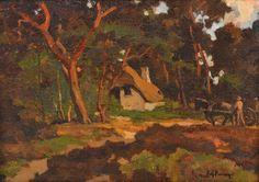 Een jeugd schilderijtje van Edzard Koning. Het doek (19 x 27,5 cm) opgeplakt op een stukje board. Geschilderd in de buitenlucht. In stijl sterk vergelijkbaar met het andere werkje.