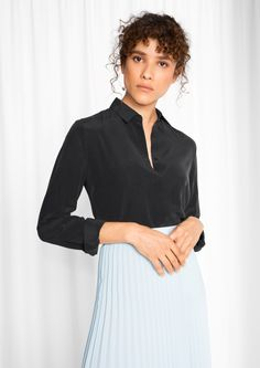& Other Stories image 2 of Straight Fit Silk Shirt in Black