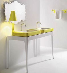 Touch of Glamour Bathroom Furniture: Touch Of Glamour Bathroom Furniture With Desk Lamp And Wall Mirror And Towel Hanger And Green Vanity Bathroom Furniture, Bathroom Interior, Cool Furniture, Furniture Design, Bathroom Ideas, Shower Ideas, Retro Bathrooms, Yellow Bathrooms, Glamorous Bathroom