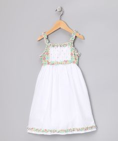 Look at this White Ruffle Carte Dress - Infant, Toddler & Girls on #zulily today!