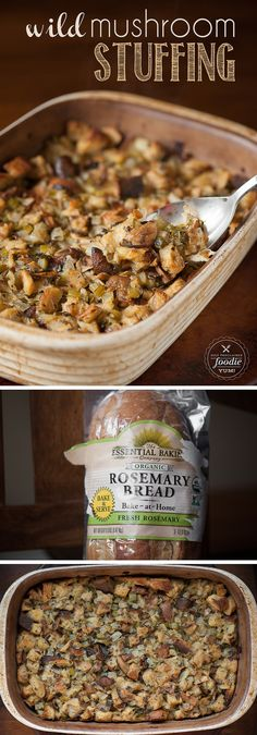 Thanksgiving wouldn't be complete without my favorite side dish: moist and flavorful Wild Mushroom Stuffing made with rosemary bread. {Self Proclaimed Foodie}