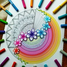 What an ornate and detailed two-faced mandala! Which side do you prefer? 🤔Designed with STABILO point 88 and Pen 68 you can… Flower Art Drawing, Doodle Art Drawing, Zentangle Drawings, Cool Art Drawings, Mandala Drawing, Art Drawings Sketches, Colorful Drawings, Zentangles, Flower Drawings