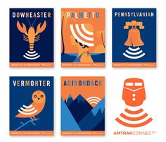 advertising for Amtrak, that offers free wi-fi services. Combined an iconic symbol of each regional route and the wi-fi signal. With creative direction by Mick Sutter and illustrations by Andrew Bannecker, the AmtrakConnect ad campaign kept text to a minimum and let the images speak for themselves.