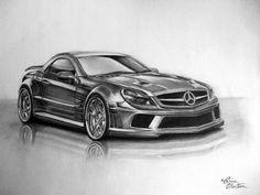 Mercedes SL65 - Desen în Creion de Corina Olosutean // Mercedes SL65 - Pencil Drawing by Corina Olosutean Mercedes Benz Amg, Bmw, Cars, Garage, Carport Garage, Autos, Car, Garages, Automobile