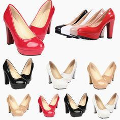 59a9803d896 Women PU Leather Round Toe Stiletto High Heels Platform Pumps Working Shoes  New