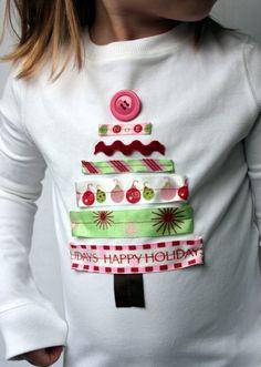 Ribbon Christmas Tree Applique Shirt