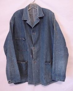 Vintage 1940s Blue Denim Chore Jacket - Donut Buttons