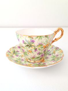Vintage Regency English Bone China Tea Cup and Saucer Cottage Garden Tea Party