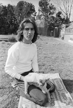 GeorgeHarrison and Cat - Esher, Surrey, England April 6, 1969